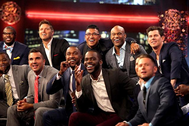 <p>Kenny, Kenneth, Matthew, Brady, Will, Iggy, Josiah, Anthony and Lucas in ABC's <i>The Bachelorette</i>. <br>(Photo: Paul Hebert/ABC) </p>