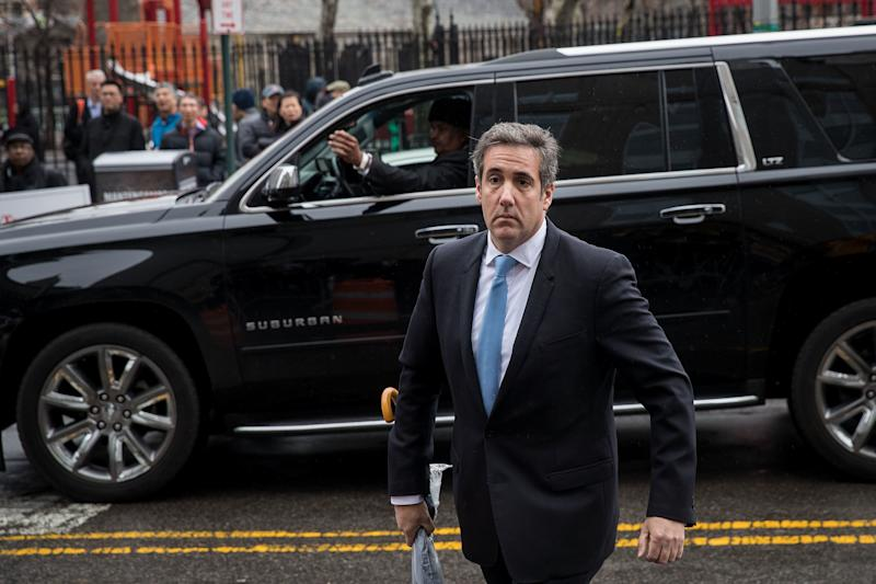 Michael Cohen, a longtime personal lawyer and confidante for President Donald Trump, arrives at the United States District Court Southern District of New York on April 16, 2018, in New York City.