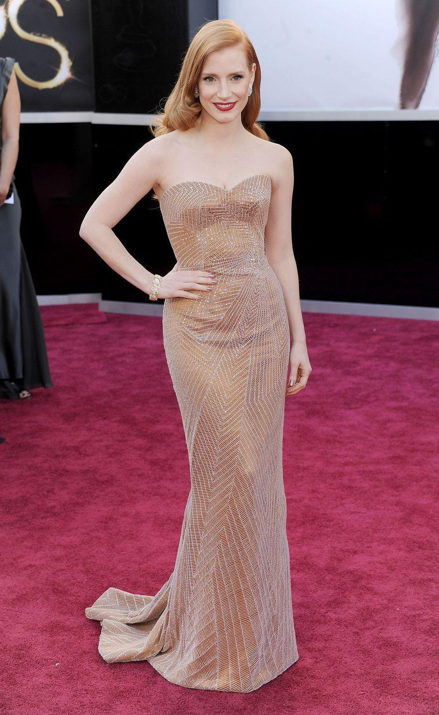 <p>Jessica Chastain channeled Old Hollywood in this embellished Armani Prive gown with sweetheart neckline and soft waves. </p>