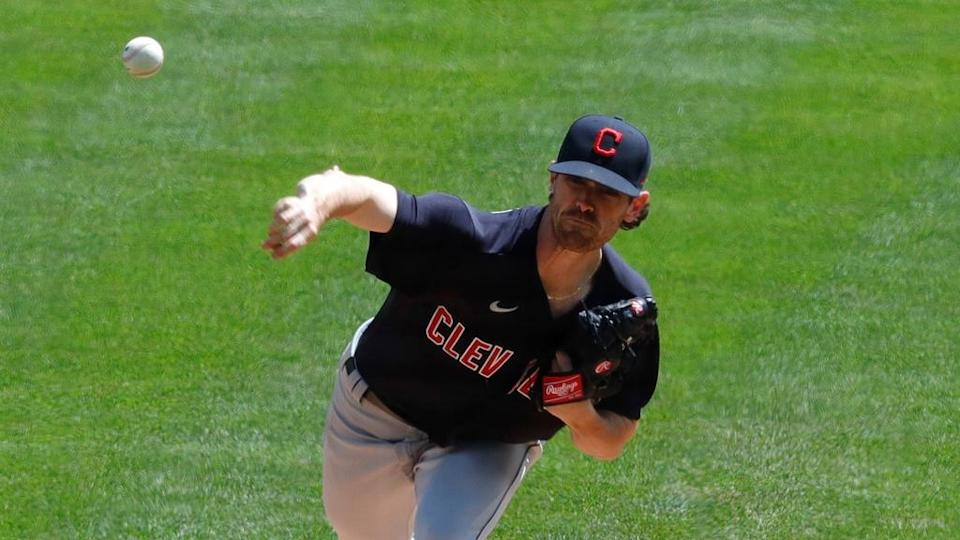 Apr 18, 2021; Cincinnati, Ohio, USA; Cleveland Indians starting pitcher Shane Bieber (57) throws against the Cincinnati Reds during the first inning at Great American Ball Park.