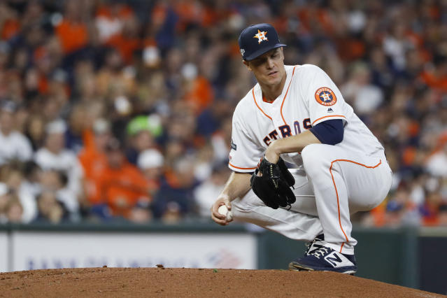 Houston Astros starting pitcher Zack Greinke kneels on the mound during the second inning in Game 1 of baseball's American League Championship Series against the New York Yankees Saturday, Oct. 12, 2019, in Houston. (AP Photo/Matt Slocum)