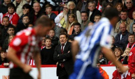Sheffield United's manager Danny Wilson watches on during the match