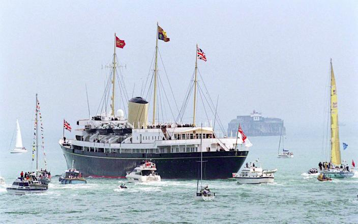 The Royal Yacht Britannia, seen leaving Portsmouth, was decommissioned in 1997 - Tim Graham/Getty Images