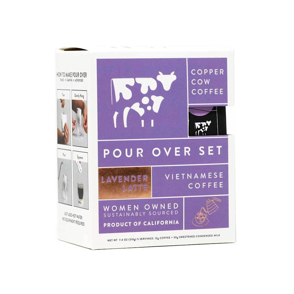 "$17, Copper Cow Coffee. <a href=""https://coppercowcoffee.com/collections/all-collections/products/lavender-latte-pour-over-vietnamese-coffee-with-organic-lavender-with-milk"">Get it now!</a>"