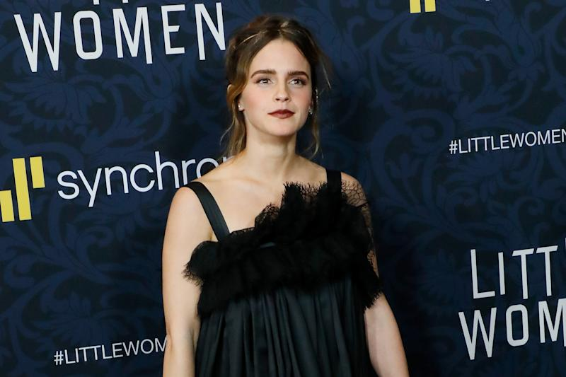 """NEW YORK, NEW YORK - DECEMBER 07: Emma Watson attends the world premiere of """"Little Women"""" at Museum of Modern Art on December 07, 2019 in New York City. (Photo by Taylor Hill/WireImage,)"""