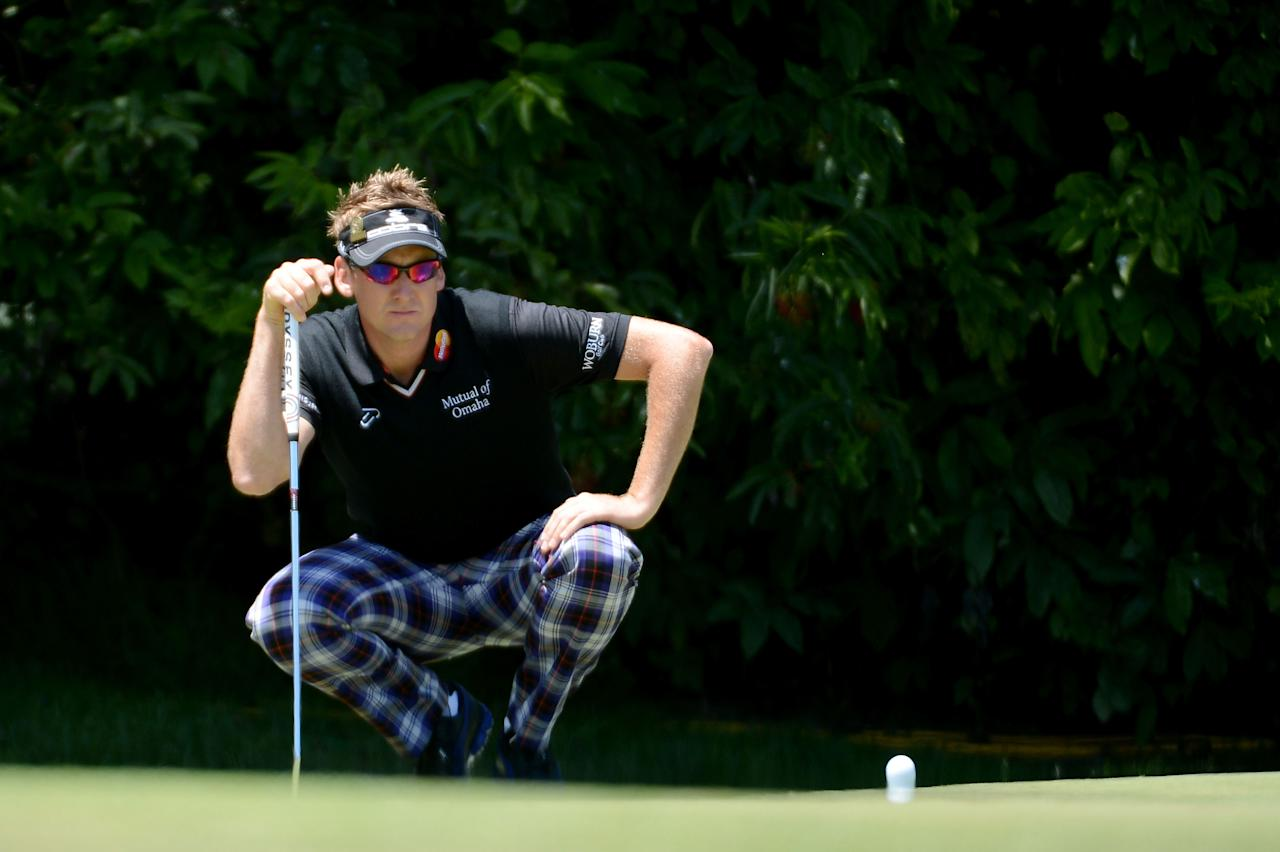 SAN FRANCISCO, CA - JUNE 16:  Ian Poulter of England lines up a putt on the first hole during the third round of the 112th U.S. Open at The Olympic Club on June 16, 2012 in San Francisco, California.  (Photo by Harry How/Getty Images)