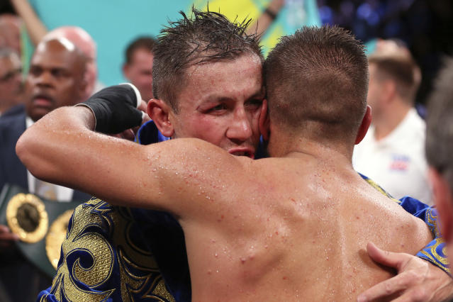 Gennadiy Golovkin, left, embraces Sergiy Derevyanchenko after defeating him by decision in their IBF middleweight championship title bout at Madison Square Garden in New York on Saturday, Oct. 5, 2019. (AP Photo/Rich Schultz)