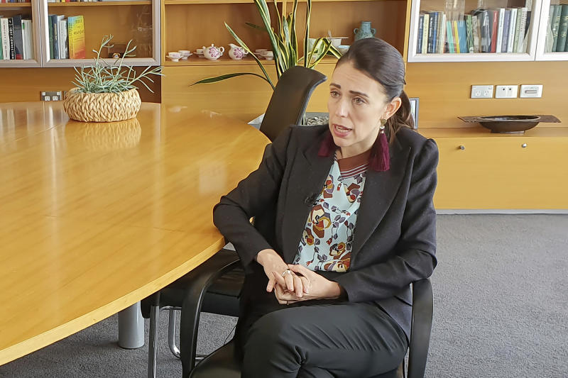 New Zealand's Prime Minister Jacinda Ardern speaks during an interview in Wellington, New Zealand, Thursday, Dec. 5, 2019. Ardern said she'll do all she can to stop a man accused of killing 51 Muslim worshippers from spreading his message of hate at his trial. She also hopes artificial intelligence will one day stop such attacks from being broadcast online. (AP Photo/Sam James)