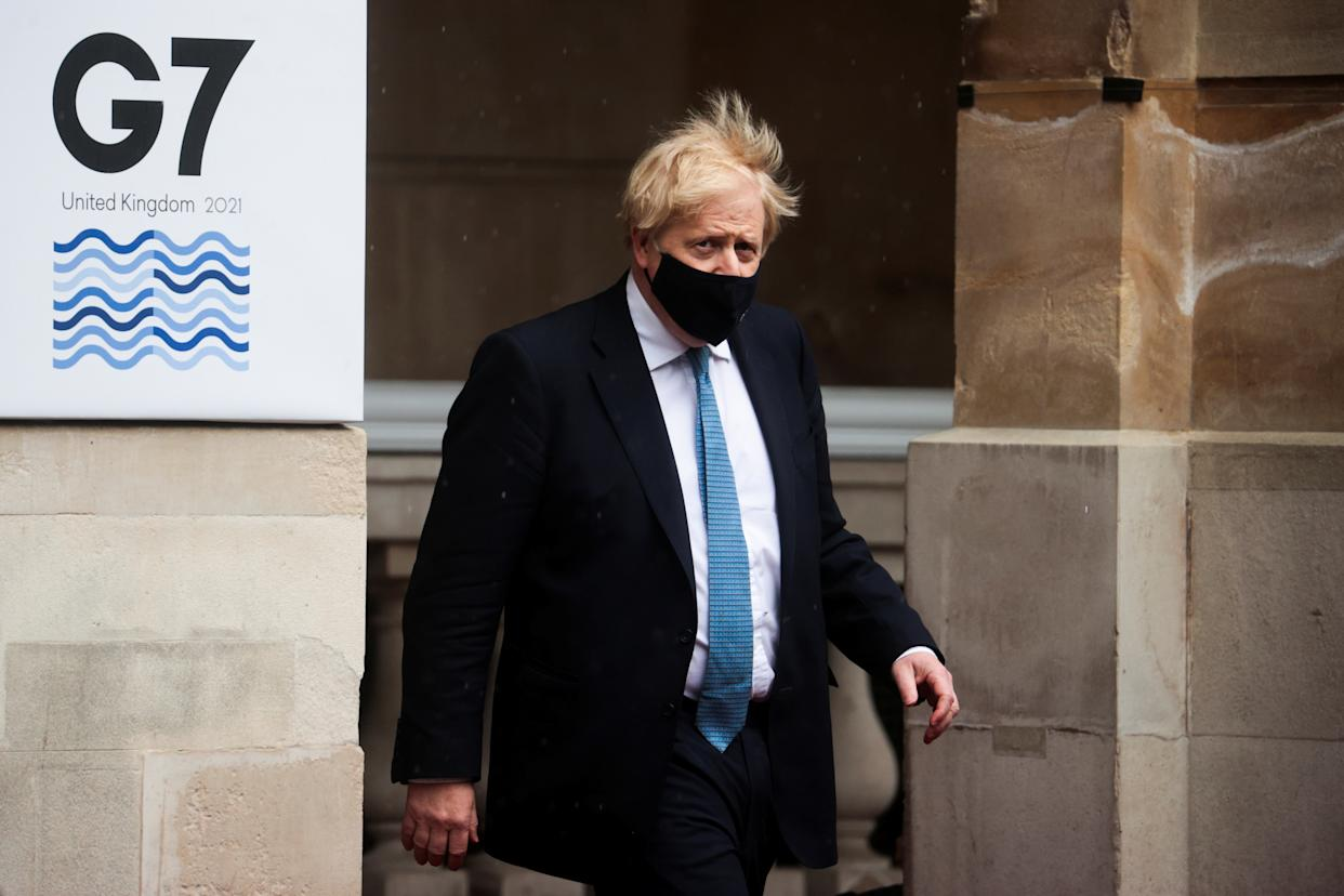 Prime Mnister Boris Johnson leaves Lancaster House, London, after visiting the G7 foreign and development ministers meeting. Picture date: Wednesday May 5, 2021.