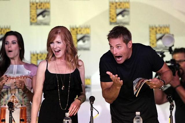 "Meghan Ory, Marg Helgenberger, and onstage at the ""Intelligence"" panel during Comic-Con International 2013 at San Diego Convention Center on July 18, 2013 in San Diego, California."