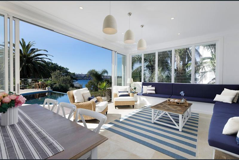 Mia Freedman's lounge with Sydney Harbour views of her Point Piper home