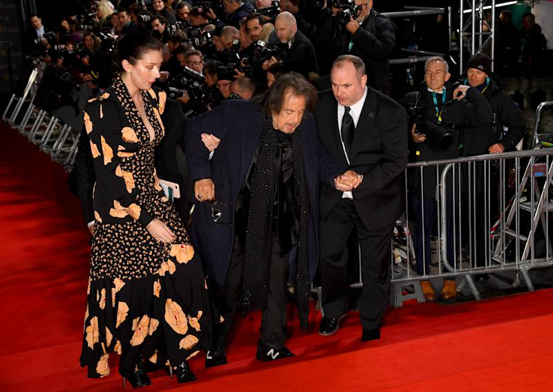 Al Pacino takes a tumble at the EE British Academy Film Awards 2020 at Royal Albert Hall on February 02, 2020 in London, England.