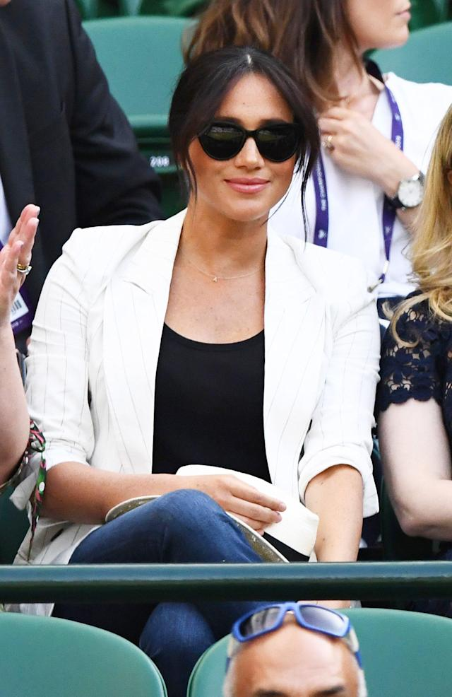 """Meghan Markle made a <a href=""""https://people.com/royals/meghan-markle-attends-wimbledon-watch-serena-williams/"""" rel=""""nofollow noopener"""" target=""""_blank"""" data-ylk=""""slk:surprise appearance at Wimbledon"""" class=""""link rapid-noclick-resp"""">surprise appearance at Wimbledon</a> on the 4th of July to cheer on her friend Serena Williams. The Duchess of Sussex looked cute and casual wearing a $550 L'Agence pinstripe blazer, skinny jeans and black pumps. <strong>Get the Look!</strong> Vero Moda Anna Striped One-Button Blazer, $65; <a href=""""https://click.linksynergy.com/deeplink?id=93xLBvPhAeE&mid=13867&murl=https%3A%2F%2Fwww.bloomingdales.com%2Fshop%2Fproduct%2Fvero-moda-anna-striped-one-button-blazer%3FID%3D3307173&u1=PEO%2CShopping%3AEverythingYouNeedtoCopyMeghanMarkle%27sChicSummerStyle%2Ckamiphillips2%2CUnc%2CGal%2C6939680%2C201909%2CI"""" rel=""""nofollow noopener"""" target=""""_blank"""" data-ylk=""""slk:bloomingdales.com"""" class=""""link rapid-noclick-resp"""">bloomingdales.com</a> Closet London Oversized Blazer in Oatmeal Stripe, $113; <a href=""""https://click.linksynergy.com/deeplink?id=93xLBvPhAeE&mid=35719&murl=https%3A%2F%2Fus.asos.com%2Fcloset-london%2Fcloset-london-oversized-blazer-in-oatmeal-stripe%2Fprd%2F11685722&u1=PEO%2CShopping%3AEverythingYouNeedtoCopyMeghanMarkle%27sChicSummerStyle%2Ckamiphillips2%2CUnc%2CGal%2C6939680%2C201909%2CI"""" rel=""""nofollow noopener"""" target=""""_blank"""" data-ylk=""""slk:asos.com"""" class=""""link rapid-noclick-resp"""">asos.com</a> T Tahari Striped Open Blazer, $158; <a href=""""https://click.linksynergy.com/deeplink?id=93xLBvPhAeE&mid=13867&murl=https%3A%2F%2Fwww.bloomingdales.com%2Fshop%2Fproduct%2Ft-tahari-striped-open-blazer%3FID%3D3384948&u1=PEO%2CShopping%3AEverythingYouNeedtoCopyMeghanMarkle%27sChicSummerStyle%2Ckamiphillips2%2CUnc%2CGal%2C6939680%2C201909%2CI"""" rel=""""nofollow noopener"""" target=""""_blank"""" data-ylk=""""slk:bloomingdales.com"""" class=""""link rapid-noclick-resp"""">bloomingdales.com</a> 7 For All Mankind Boyfriend Blazer, $299; <a href=""""https://click.linksynergy.com/deepli"""
