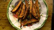 "<p>This recipe is healthy and nontraditional but will add both color and spice to your Thanksgiving plate! These savory sweet potato wedges nicely eliminate the need for any other potato on your plate and can also be made as thick rounds for a more familiar-looking style. We recommend cinnamon and chipotle as your spice combination, for the fall-friendly smell. <br><br><a href="" http://blackgirlsguidetoweightloss.com/from-erikas-kitchen/spice-meal-prep-sweet-savory-sweet-potato-wedges/"" rel=""nofollow noopener"" target=""_blank"" data-ylk=""slk:Get the recipe"" class=""link rapid-noclick-resp"">Get the recipe</a> </p>"