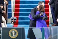 WASHINGTON, DC - JANUARY 20: Vice President Elect Kamala Harris hugs her husband Doug Emhoff before the inauguration of U.S. President-elect Joe Biden on the West Front of the U.S. Capitol on January 20, 2021 in Washington, DC. During today's inauguration ceremony Joe Biden becomes the 46th president of the United States. (Photo by Rob Carr/Getty Images)
