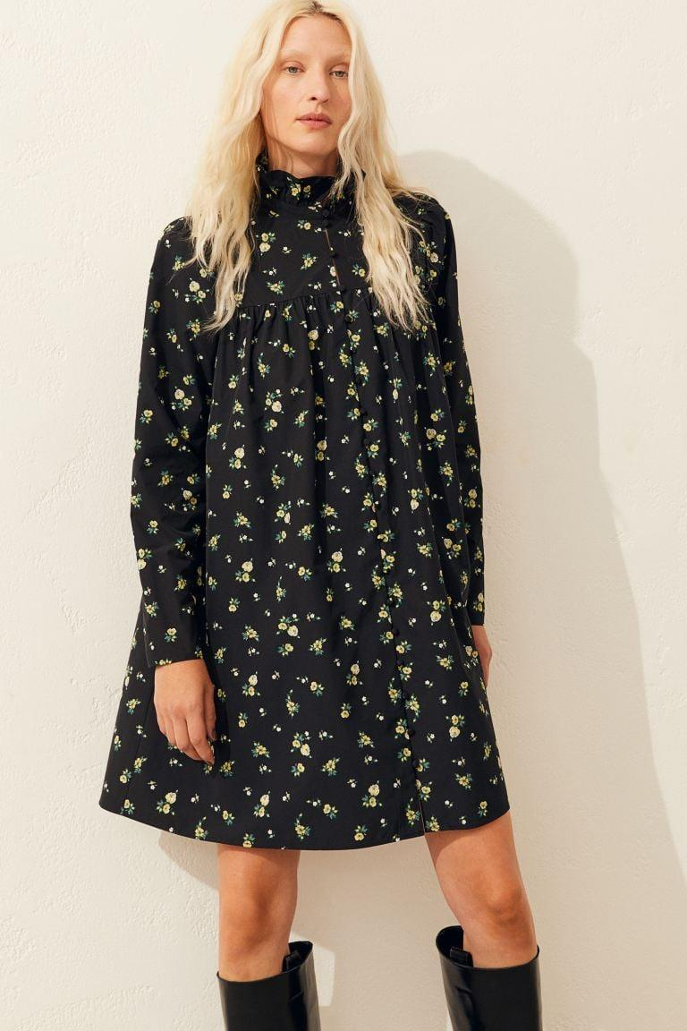 <p>This <span>H&amp;M Ruffled-collar Dress</span> ($35) is a great transitional dress.</p>