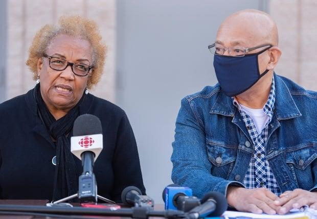 Marie-Mireille Bence, whose son was fatally shot by Repentigny police in August, joined community leaders in criticizing the SVPR's action plan, calling it evasiveness toward anti-Black racism. (Graham Hughes/The Canadian Press - image credit)