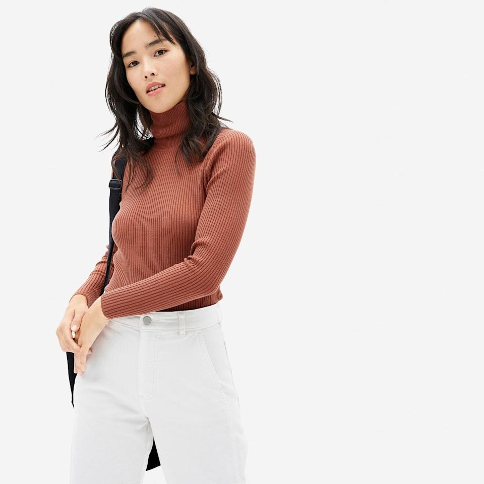 """<h2>The Italian Merino Rib Turtleneck</h2><br>Name a more chic fall staple than a finely-ribbed turtleneck. (We'll wait.) Because nothing can top this workhorse wardrobe staple, we suggesting invested in Everlane's well-priced version, in an extrafine merino wool that's fully traceable from farm to yarn.<br><br><br><strong>Everlane</strong> The Italian Merino Rib Turtleneck, $, available at <a href=""""https://go.skimresources.com/?id=30283X879131&url=https%3A%2F%2Fwww.everlane.com%2Fproducts%2Fwomens-merino-rib-turtleneck-cinnamon"""" rel=""""nofollow noopener"""" target=""""_blank"""" data-ylk=""""slk:Everlane"""" class=""""link rapid-noclick-resp"""">Everlane</a>"""