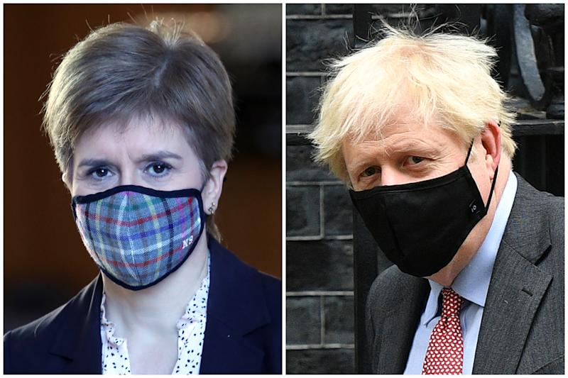 Nicola Sturgeon and Boris Johnson have imposed different national COVID restrictions on Scotland and England respectively. (Getty Images)