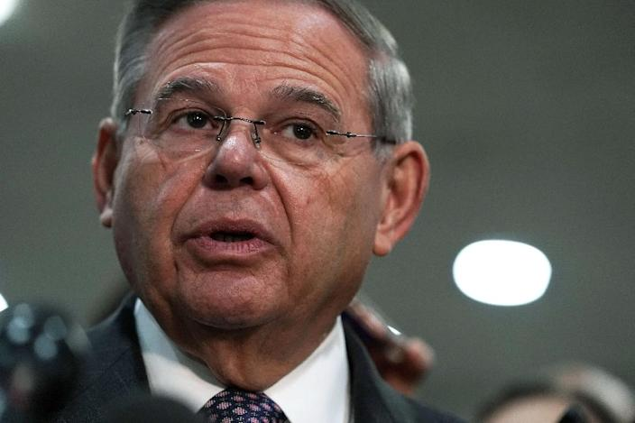 Senator Robert Menendez, the top Democrat on the Senate Foreign Relations Committee, pictured in 2018, had used his powers to block sales of tens of thousands of precision-guided bombs to Saudi Arabia and the United Arab Emirates (AFP Photo/ALEX WONG)