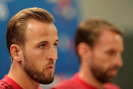 Soccer Football - World Cup - England Press Conference - Volgograd Arena, Volgograd, Russia - June 17, 2018 England's Harry Kane and manager Gareth Southgate during the press conference REUTERS/Ueslei Marcelino