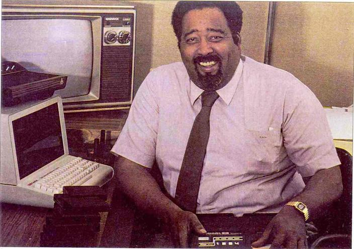 Jerry Lawson, who oversaw the creation of Fairchild Camera and Instrument Corp.'s Channel F home video game system, the first to use interchangeable game cartridges; shown here in a scanned photo from Black Enterprise magazine.