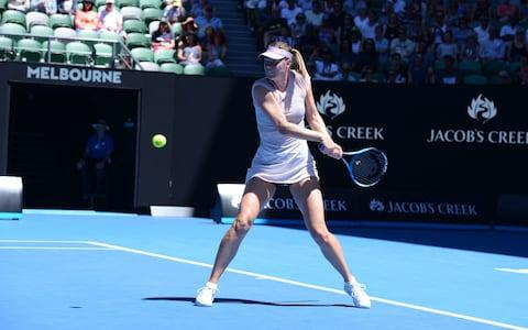 Maria Sharapova of Russia in action against Anastasija Sevastova (not seen) of Latvia during Women's single match of 2018 Australian Open at Melbourne Park Tennis Centre in Melbourne, Australia on January 18, 2018 - Credit: Getty Images