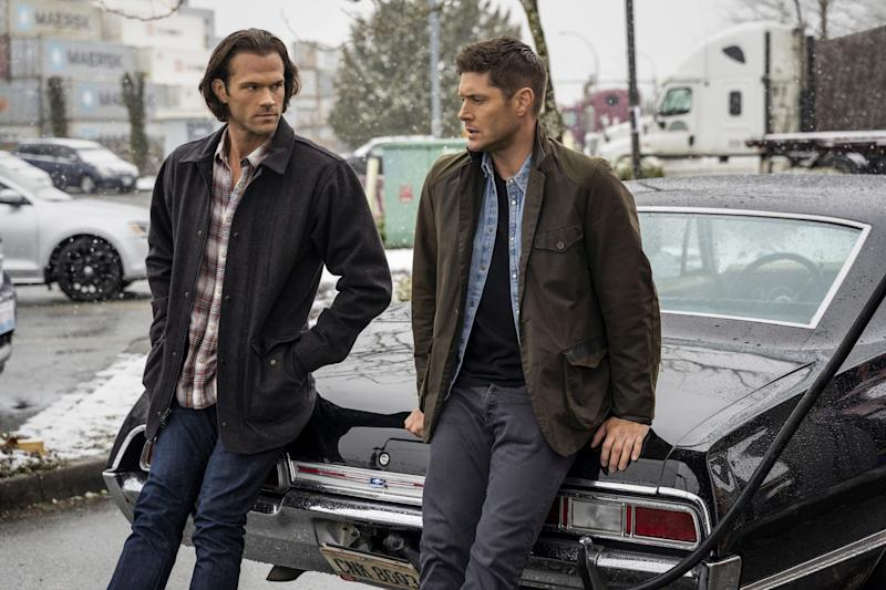 "Jared Padalecki (left) and Jensen Ackles are back for the final round of episodes in the 15th and final season of ""Supernatural."""