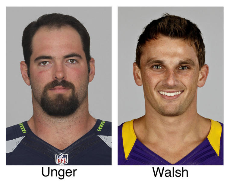 FILE - These 2012 file photos show members of The Associated Press 2012 NFL football All-Pro offensive team. From left are Max Unger, Seattle Seahawks and Blair Walsh, Minnesota Vikings . (AP Photo/File)