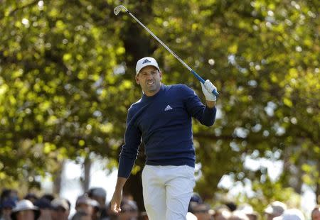 Sergio Garcia of Spain watches his tee shot on the fourth hole in second round play during the 2017 Masters golf tournament at Augusta National Golf Club in Augusta, Georgia, U.S., April 7, 2017. REUTERS/Jonathan Ernst
