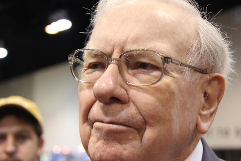 Close-up of Warren Buffett's face.