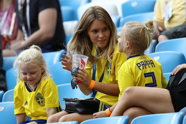 <p>Mikael Lustig of Sweden's wife Josefin Johnsson looks on during the 2018 FIFA World Cup Russia Quarter Final match between Sweden and England at Samara Arena on July 7, 2018 in Samara, Russia. (Photo by Ryan Pierse/Getty Images) </p>