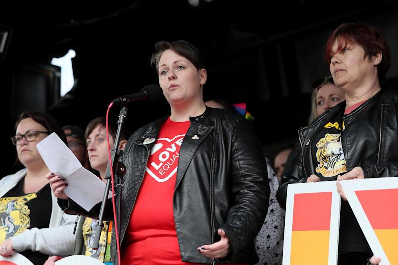 Ms Canning speaking in Belfast city centre (PA)
