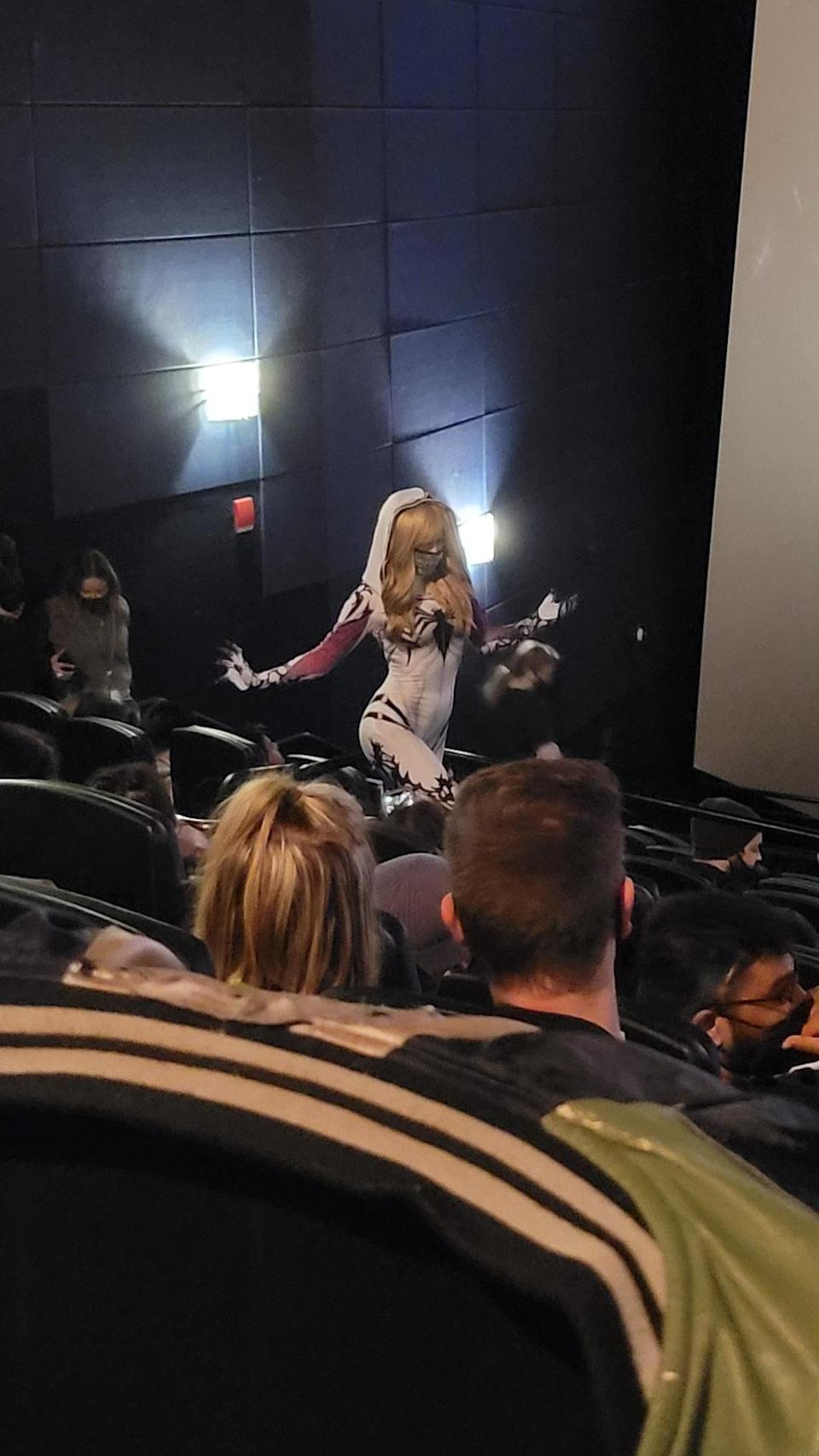 A cosplay fan at Sony's Monday night fan screening of 'Venom: Let There Be Carnage' at Universal Citywalk - Credit: Deadline