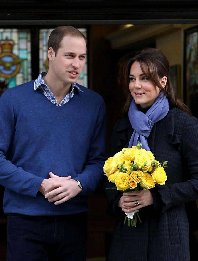 The Duchess of Cambridge, Catherine Middleton and Prince William, Duke of Cambridge leave the King Edward VII hospital on Dec. 6, 2012 in London, England. (Danny Martindale via Getty Images)