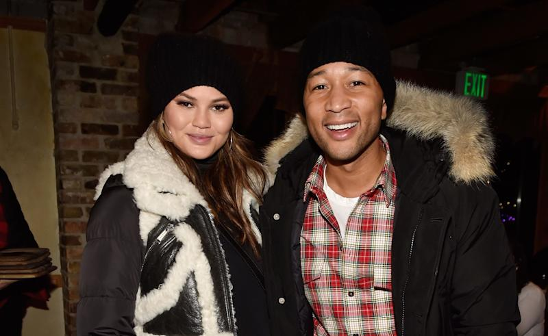 Chrissy Teigen and her husband, the thief. (Photo: David Becker/Getty Images)