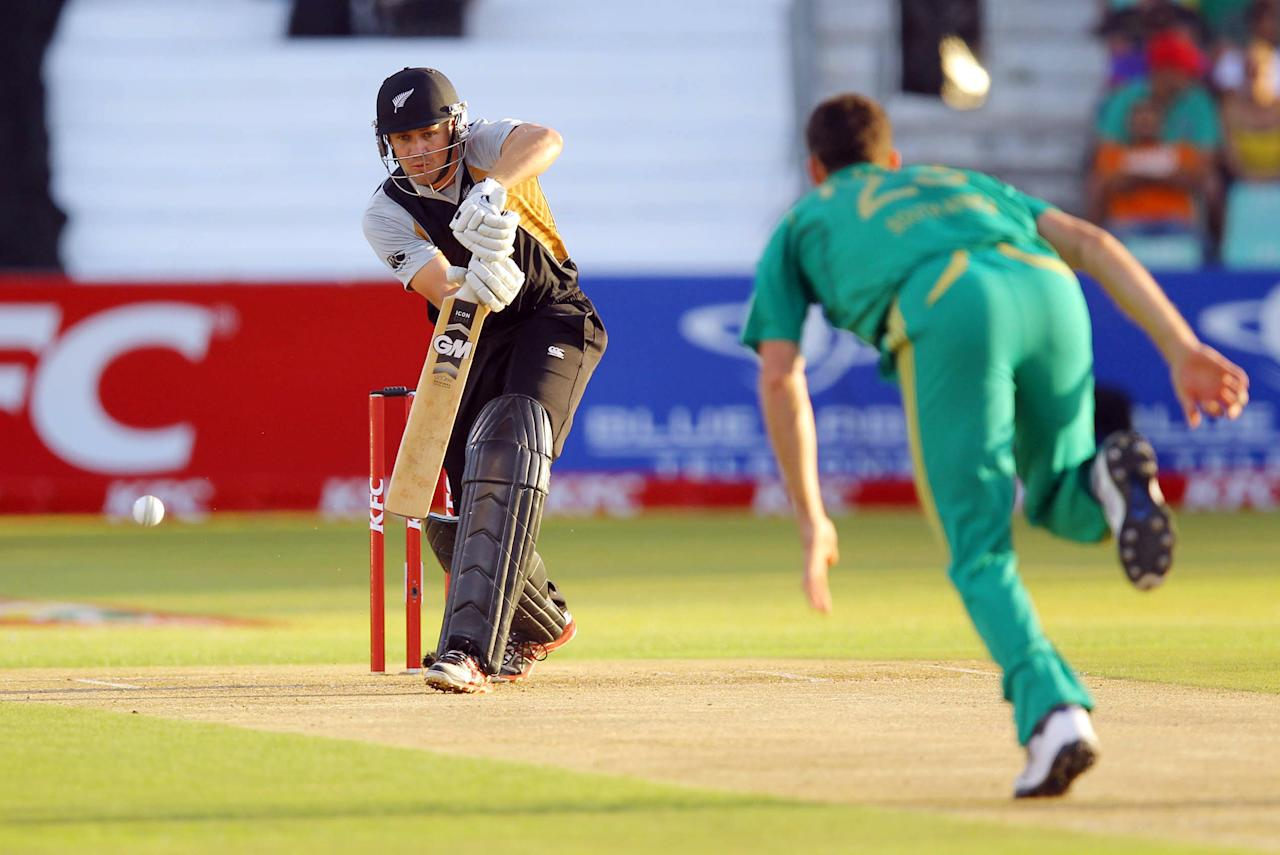 DURBAN, SOUTH AFRICA - DECEMBER 21:   Peter Fulton of New Zealand bats off the delivery of Ryan McLaren of South Africa during the 1st T20 match between South Africa and New Zealand at Sahara Park Kingsmead on December 21, 2012 in Durban, South Africa.  (Photo by Anesh Debiky/Gallo Images/Getty Images)