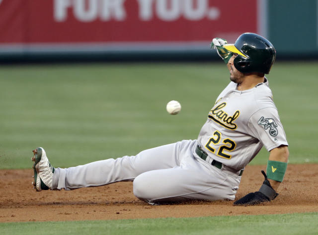 Oakland Athletics' Ramon Laureano steals second base during the second inning of the team's baseball game against the Los Angeles Angels on Tuesday, June 4, 2019, in Anaheim, Calif. (AP Photo/Marcio Jose Sanchez)