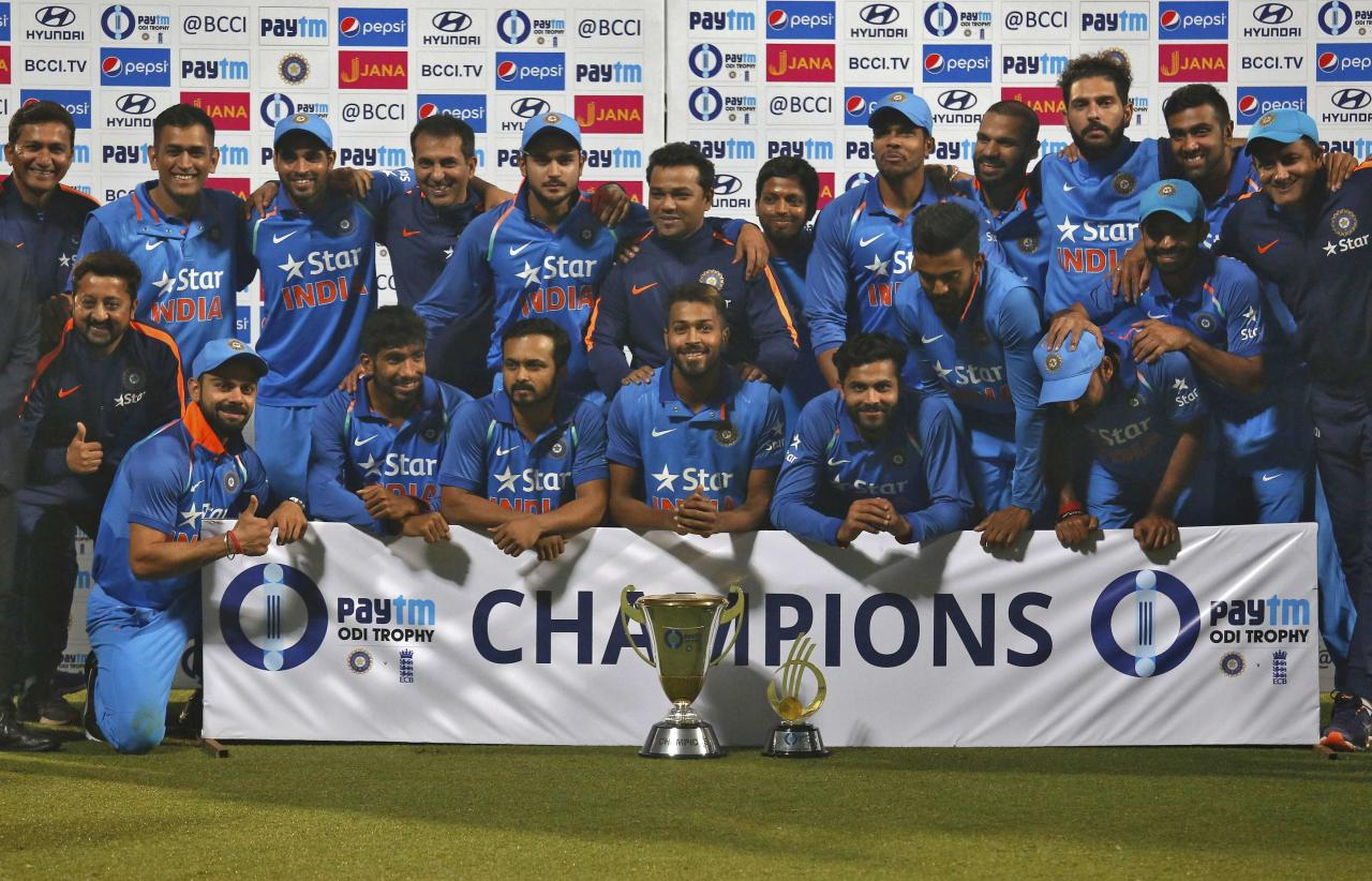 Cricket - India v England - Third One Day International - Eden Gardens, Kolkata, India - 22/01/2017. India's players pose with the trophy after winning the series. REUTERS/Rupak De Chowdhuri