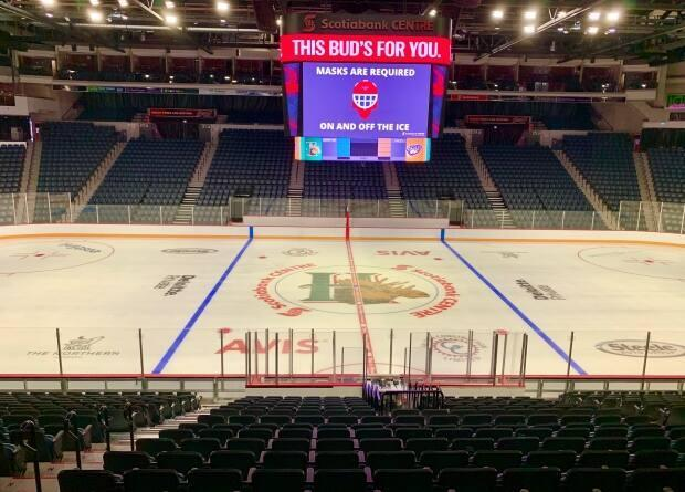 The rink at Scotiabank Centre in Halifax is seen in this file photo. The venue will soon require proof of vaccination or proof of a negative COVID-19 test for spectators. (Paul Palmeter/CBC - image credit)