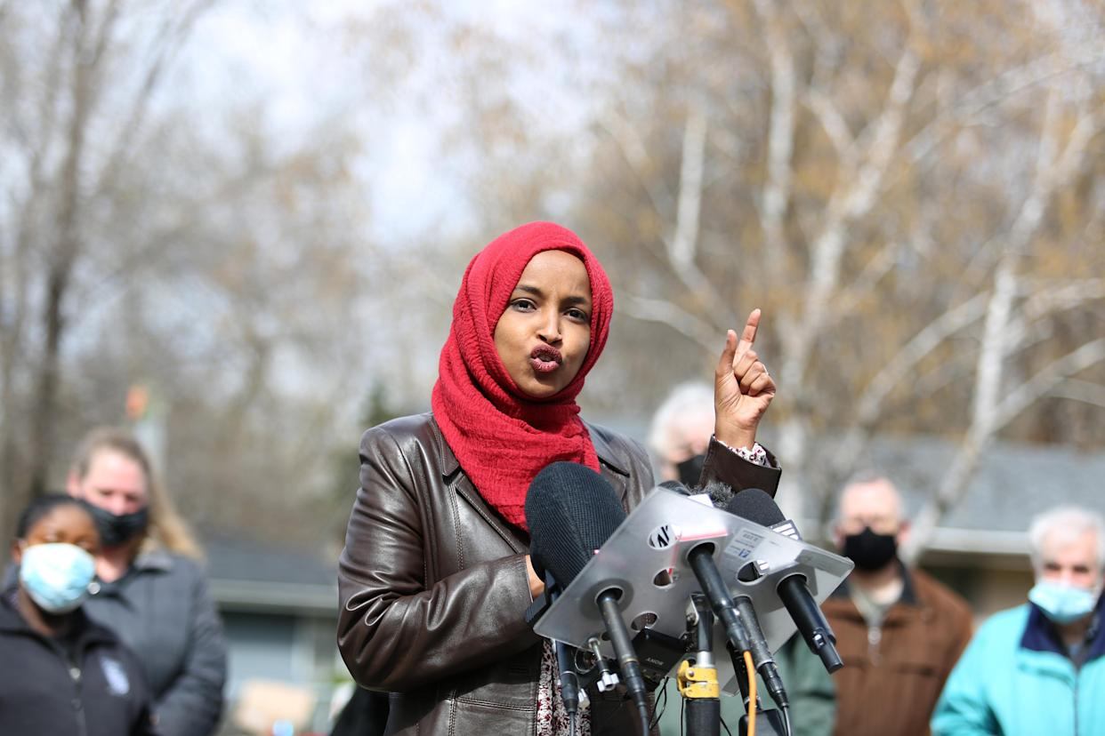 Representative Ilhan Omar, a Democrat from Minnesota, speaks during a press conference near the site of Daunte Wright's death in Brooklyn Center, Minnesota, U.S., on Tuesday, April 20, 2021. The case of the former Minneapolis police officer accused of killing George Floyd went to the jury after DerekChauvin's defense attorney said the viral video of him kneeling on Floyd's neck and back doesn't tell the entire story. Photographer: Emilie Richardson/Bloomberg via Getty Images
