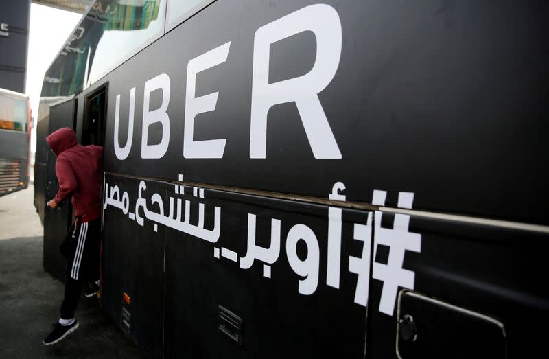 FILE PHOTO: An UBER bus ushers Egypt fans to a soccer stadium before the start of a game against Ghana