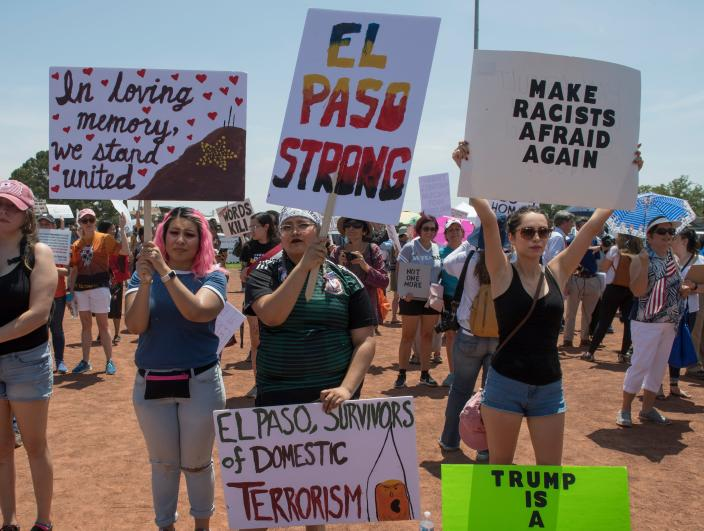 El Paso residents protest against the visit of US President Donald Trump to the city after the Walmart shooting that left a total of 22 people dead, in El Paso, Texas, on Aug. 7, 2019. (Photo: Mark Ralston/AFP/Getty Images)