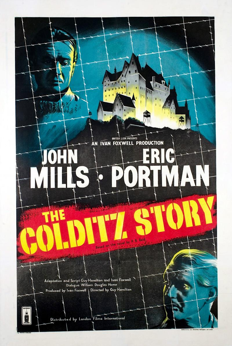 The Colditz Story, poster, John Mills, Eric Portman, 1955. (Photo by LMPC via Getty Images)