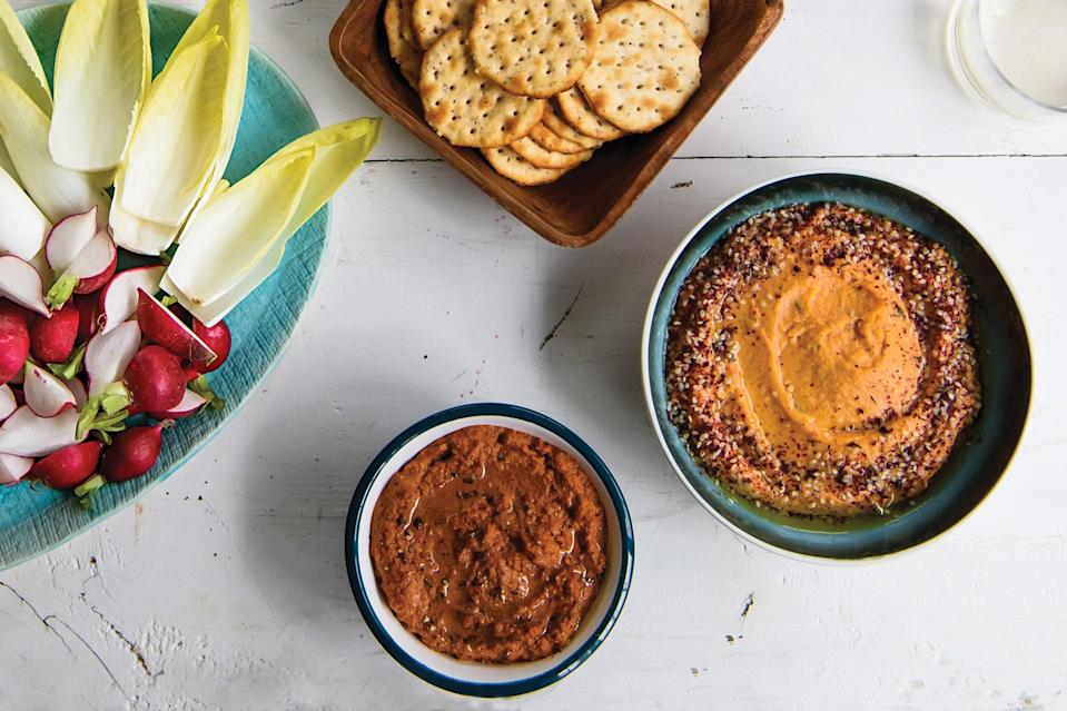 "Like many of our favorite dip recipes, this one is seriously simple. But it's worth it to go to the extra effort of making homemade za'atar. <a href=""https://www.epicurious.com/recipes/food/views/sweet-potato-tahini-dip-with-zaatar?mbid=synd_yahoo_rss"" rel=""nofollow noopener"" target=""_blank"" data-ylk=""slk:See recipe."" class=""link rapid-noclick-resp"">See recipe.</a>"