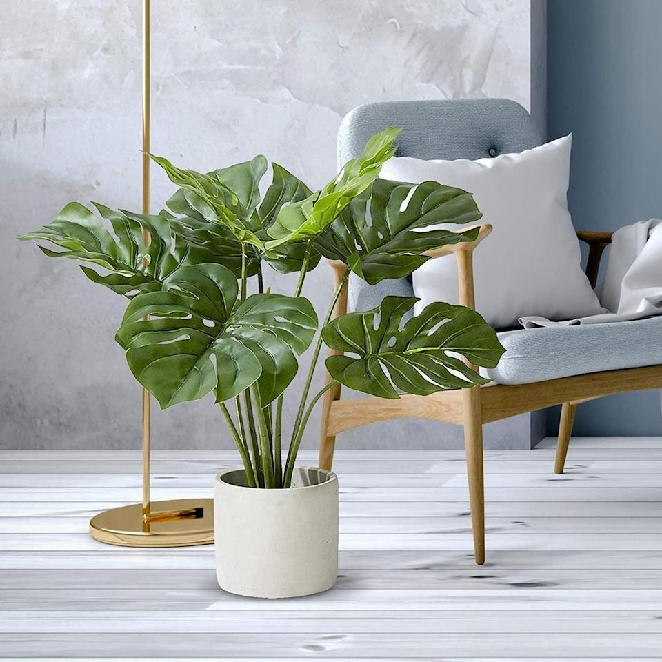 <p>This <span>Artificial Monstera Plant</span> ($46) will elevate any room in your home, with its gorgeous leaves and simple elegance.</p>
