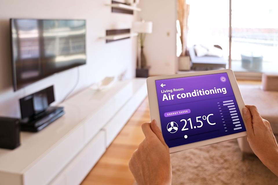 """<a href=""""https://amzn.to/3iAzKK7"""" target=""""_blank"""" rel=""""noopener noreferrer"""">The Sensibo Sky is a smart AC controller</a> that turns any air conditioner into a smart air conditioner. (Photo: izusek via Getty Images)"""