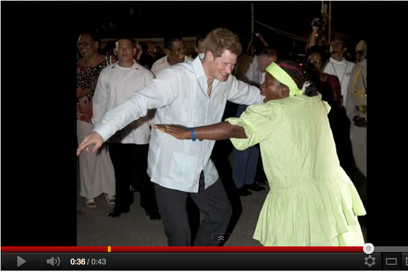 Prince Harry dancing with locals Belize