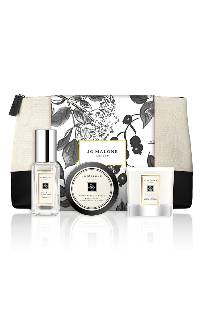 """<p><strong>Jo Malone London</strong></p><p>nordstrom.com</p><p><strong>$40.00</strong></p><p><a href=""""https://go.redirectingat.com?id=74968X1596630&url=https%3A%2F%2Fwww.nordstrom.com%2Fs%2Fjo-malone-london-travel-size-wood-sage-sea-salt-cologne-set-67-value%2F5908843&sref=https%3A%2F%2Fwww.bestproducts.com%2Fbeauty%2Fg256%2Fchristmas-holiday-beauty-gifts%2F"""" rel=""""nofollow noopener"""" target=""""_blank"""" data-ylk=""""slk:Shop Now"""" class=""""link rapid-noclick-resp"""">Shop Now</a></p><p>Fragrances always feel like a true luxury item, and this under-$100 aromatic set will definitely not disappoint. The kit comes with mini-sized versions of the luxury fragrance house's best-smelling scents.<br><br>Open up the complimentary pouch and you'll reveal a fragrant trifecta of Jo Malone's Wood Sage & Sea Salt Cologne, Peony & Blush Suede Body Creme, and English Pear & Freesia Candle.</p>"""