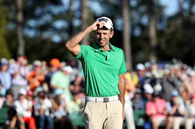 Charl Schwartzel of South Africa reacts to a putt for birdie on the 18th hole during the final round of the 2017 Masters tournament, at Augusta National Golf Club in Georgia, on April 9 (AFP Photo/Rob Carr)